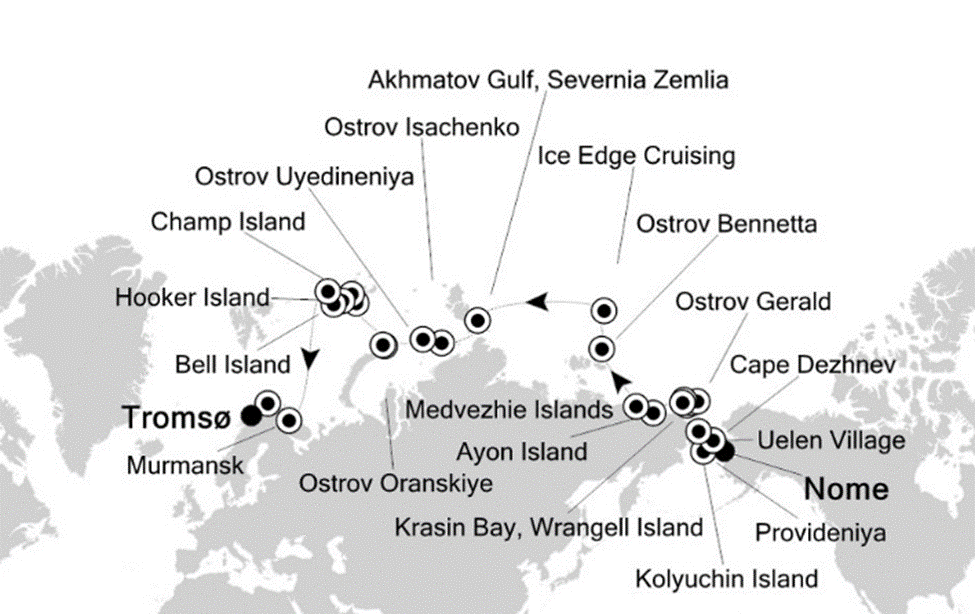 Карта маршрута Северный морской путь