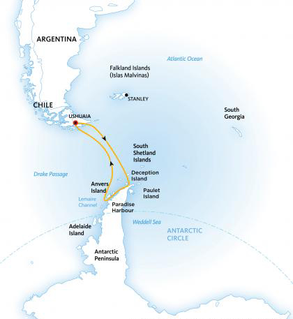 antarctic explorer itinerary map